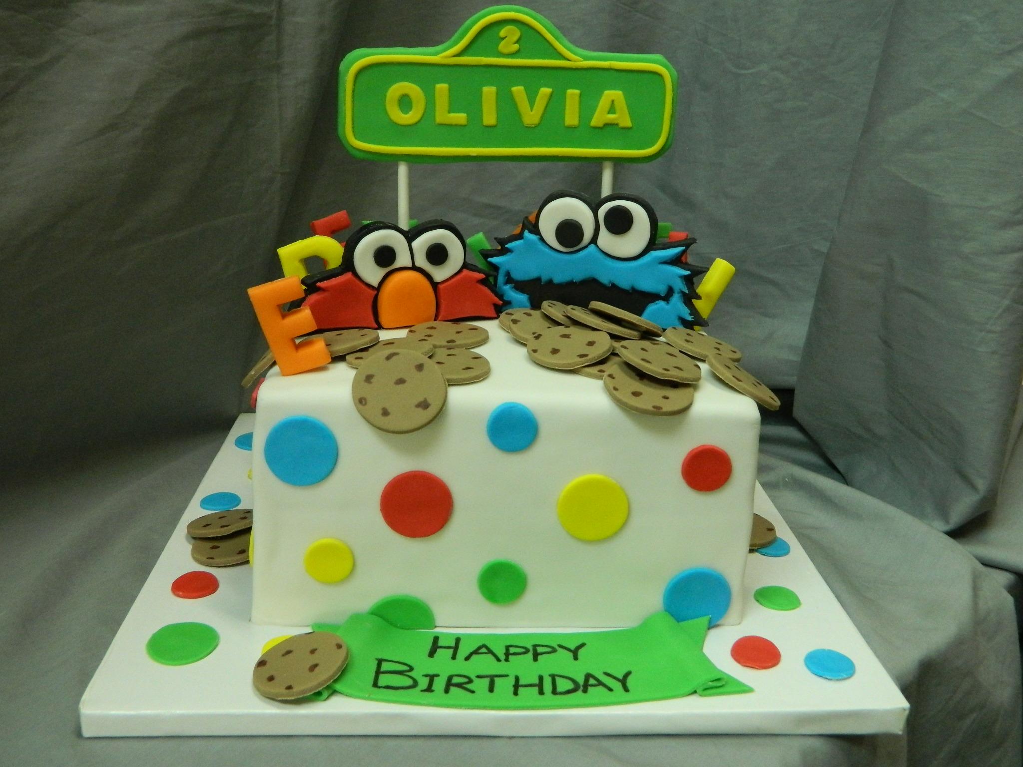 Elmo Cookie Monster Themed Birthday Custom Cake