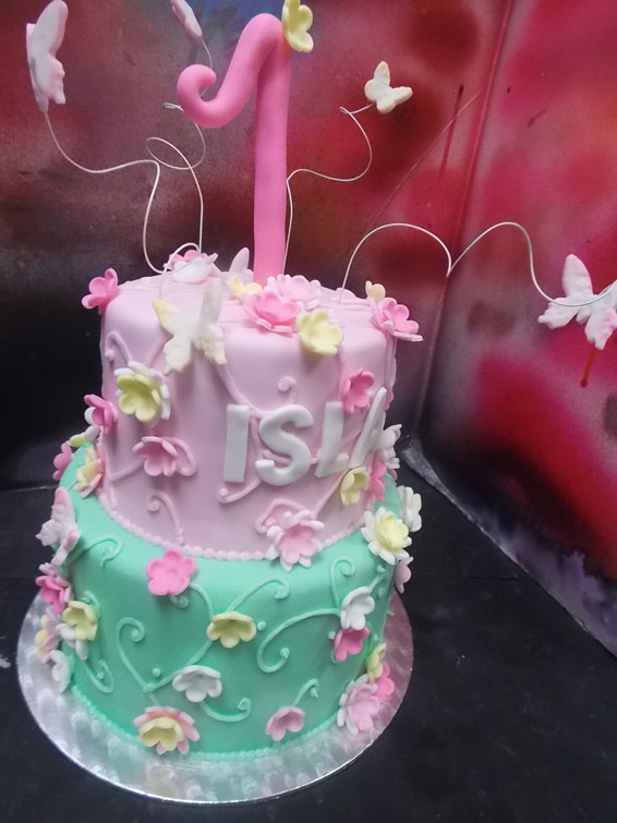 Butterflies and blossoms custom cake