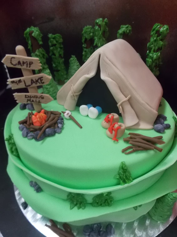 Camp out custom cake