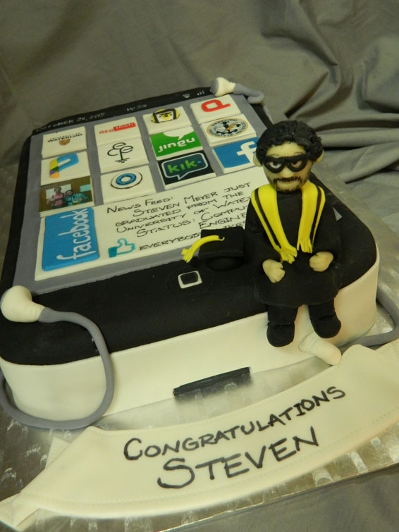 iPhone themed custom graduation cake