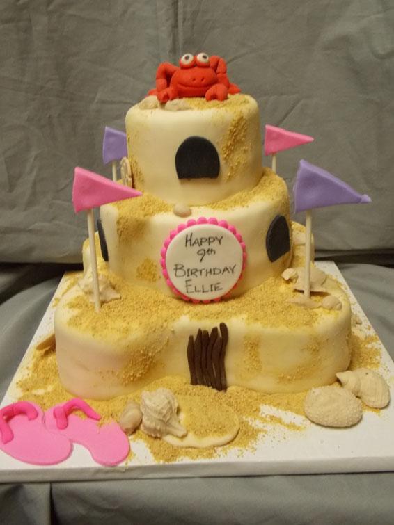 Sandcastle Themed Custom Birthday Cake Hey Cupcake