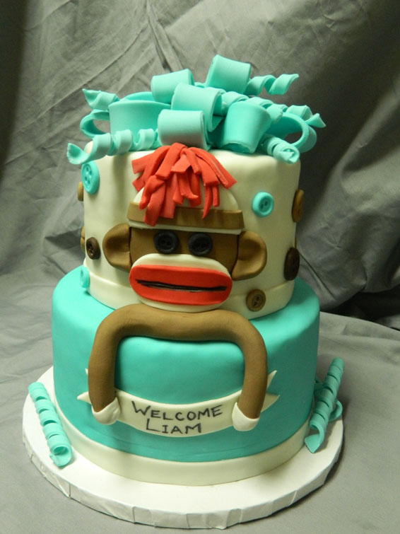 Sock Monkey themed custom baby shower cake
