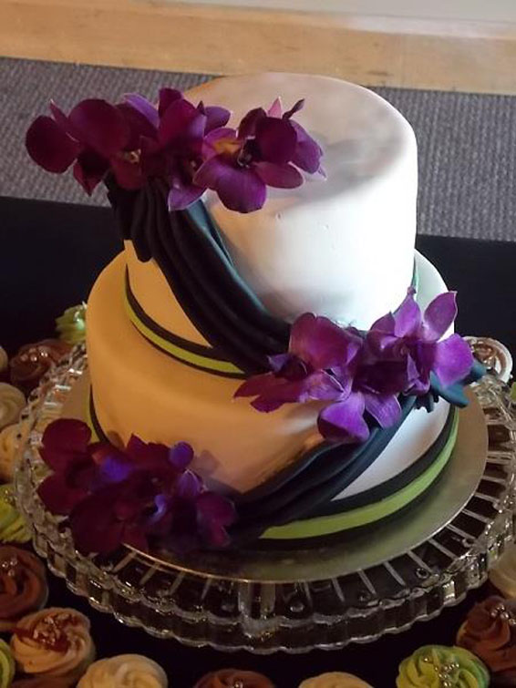 Swag Cake with Real Orchids