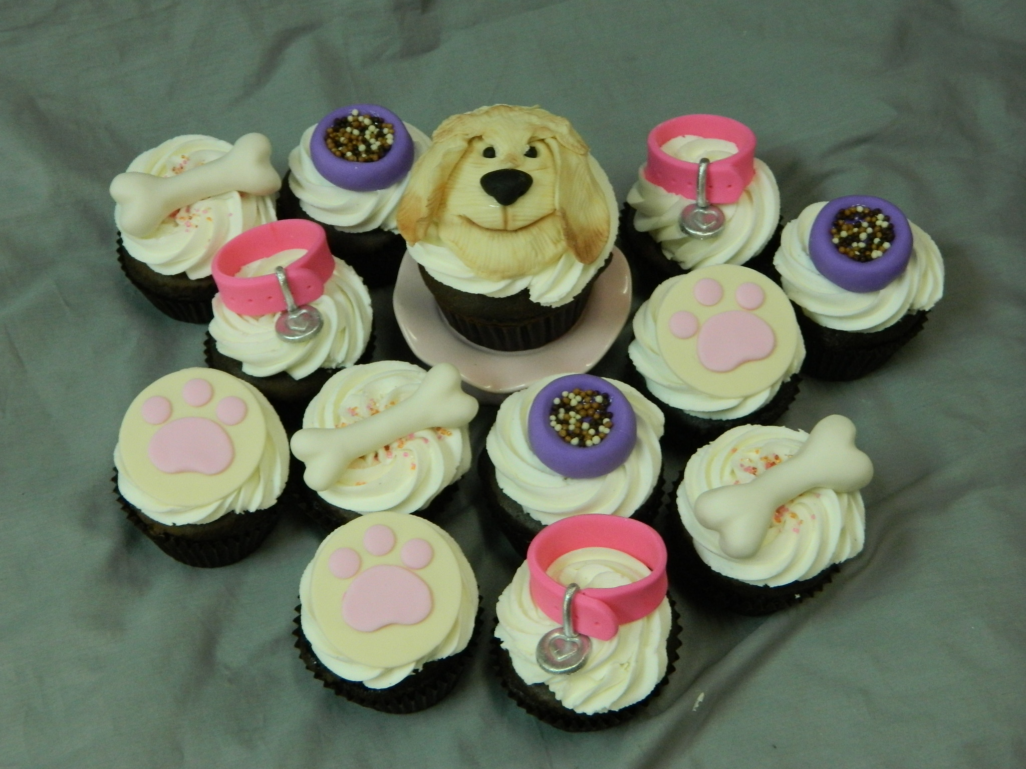 Puppy themed custom birthday cupcakes