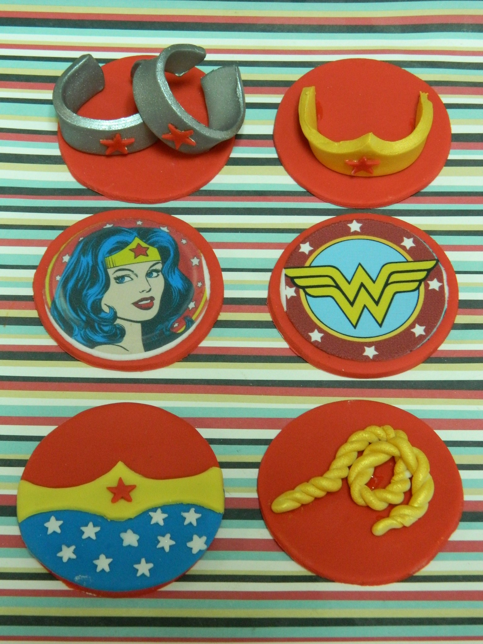 Wonder Woman themed custom cupcake toppers