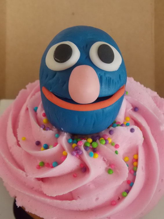 Grover themed custom cupcake