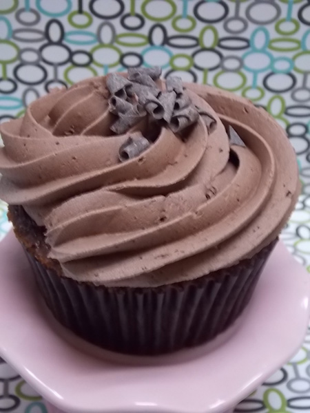 The richest, fudgy-est chocolate cupcake you've ever tasted topped with milk chocolate buttercream